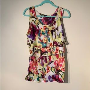 Floral Sleeveless Blouse with Ruffles